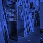 Inventaire de moulures de métal dans un icône rond